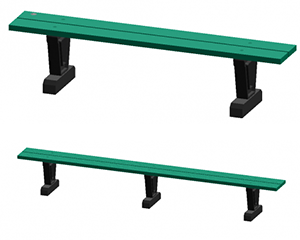 Park Straight Bench made of 100% recycled plastic materials