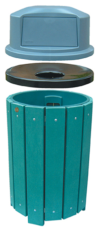 Park Trash Recepticle made with 100% recycled plastic slats